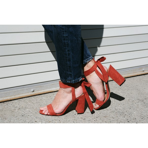 Red Block Heel Sandals Suede Prom Shoes image 5