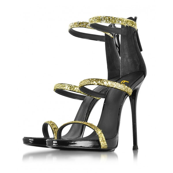 Gold Sparkly Heels Glitter Sandals Stiletto Heels Prom Shoes image 1
