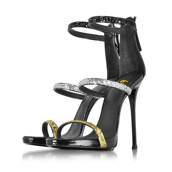 Multi Colors Sparkly Stiletto Heels Open Toe Ankle Strap Summer Sandals image 1
