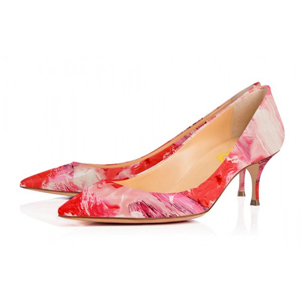 Red Kitten Heels Landscape Print Pointy Toe Pumps for Ladies image 1