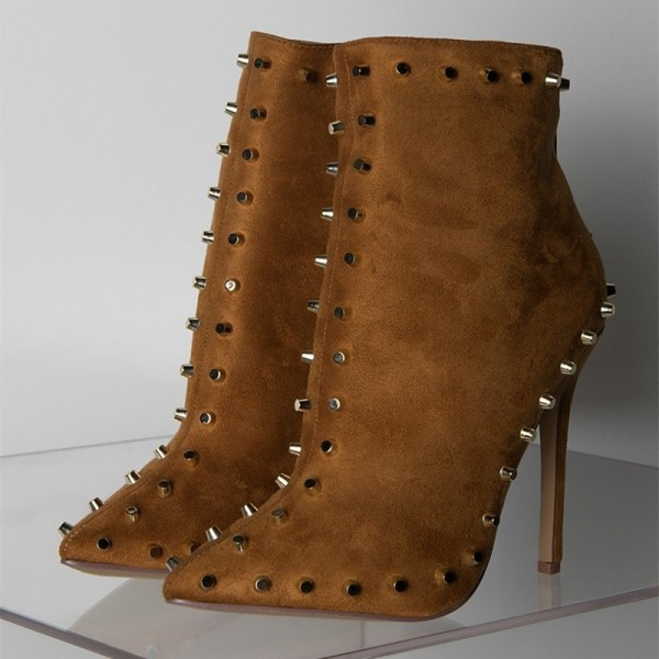 Camel Suede Studded Boots Stiletto Heel