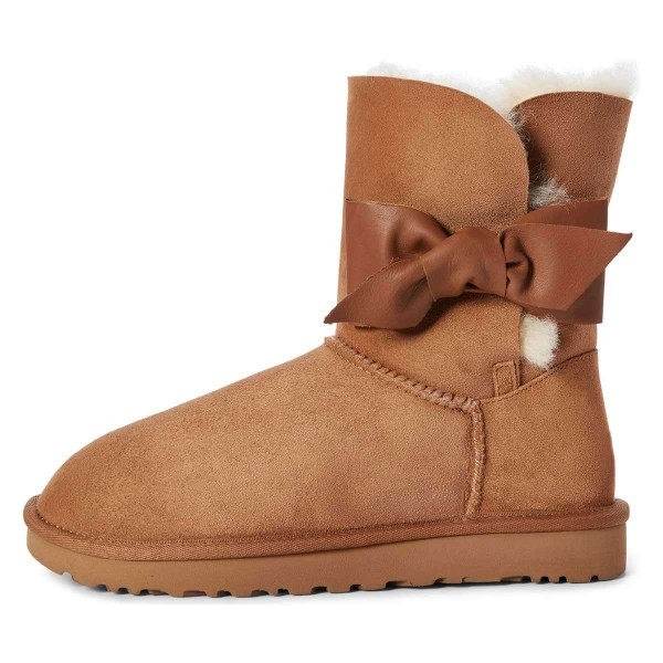 Camel Winter Boots Flat Suede Comfy Mid Calf Snow Boots US Size 3-15 image 1
