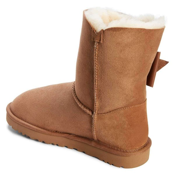 Camel Winter Boots Flat Suede Comfy Mid Calf Snow Boots US Size 3-15 image 3