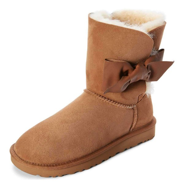 Camel Winter Boots Flat Suede Comfy Mid Calf Snow Boots US Size 3-15 image 2