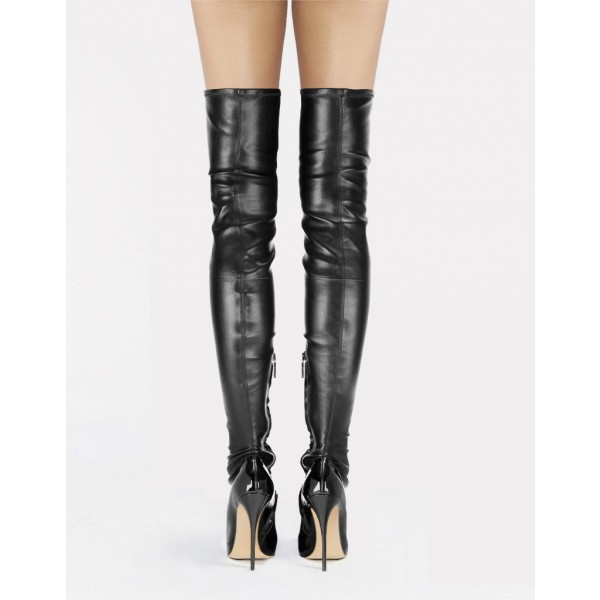 Black Thigh High Heel Boots Sexy Cat Woman Stiletto Heel Long Boots image 4