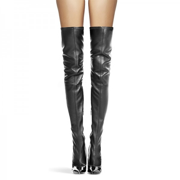 Black Thigh High Heel Boots Sexy Cat Woman Stiletto Heel Long Boots image 3