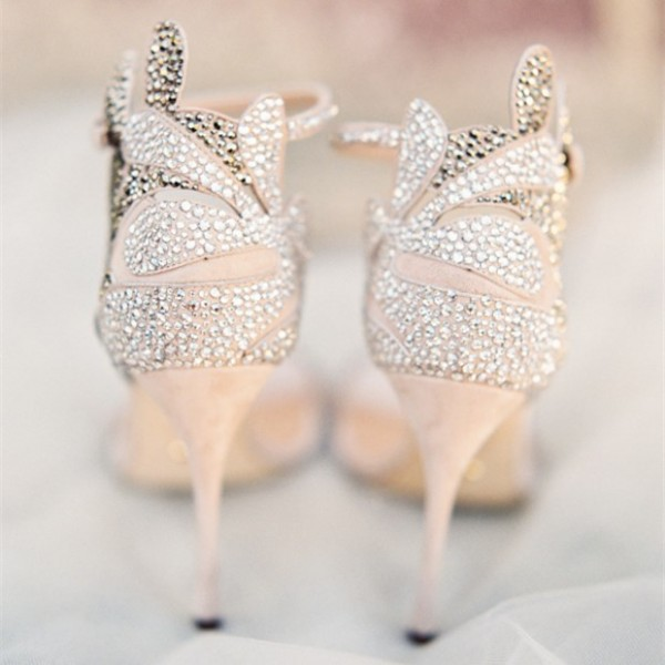 Champagne Wedding Shoes Rhinestone Stiletto Heels Bridal Sandals image 6