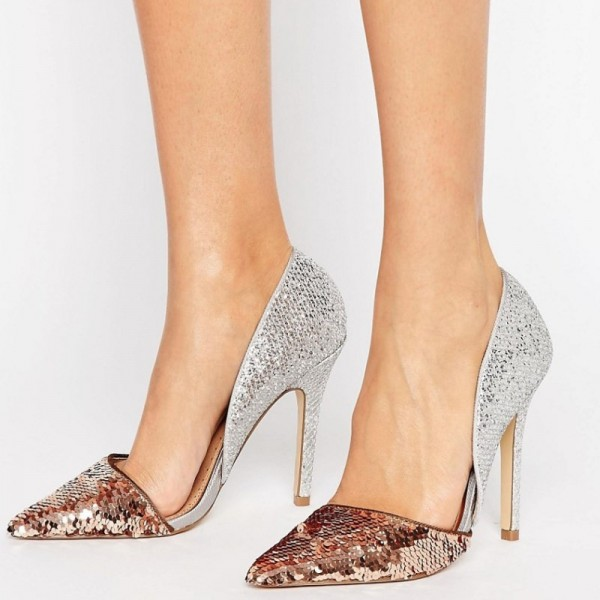 Champagne and Silver Sequined Sparkly Heels Pointy Toe Pumps image 1