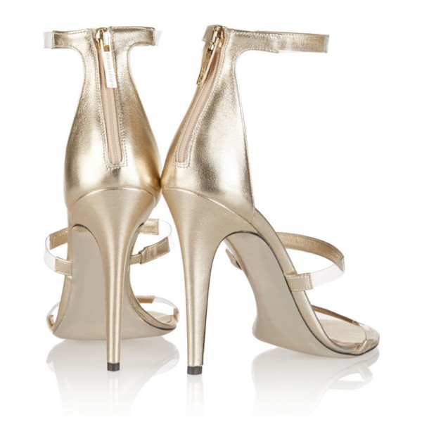 Women's Champagne Tri-Straps Clear Stiletto Heels Sandals image 3
