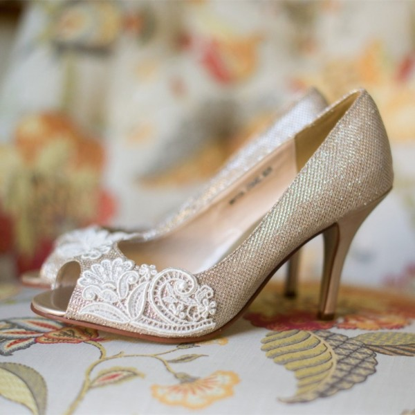 Women's Champagne Bridal Heels Peep Toe Lace Pumps for Wedding image 1