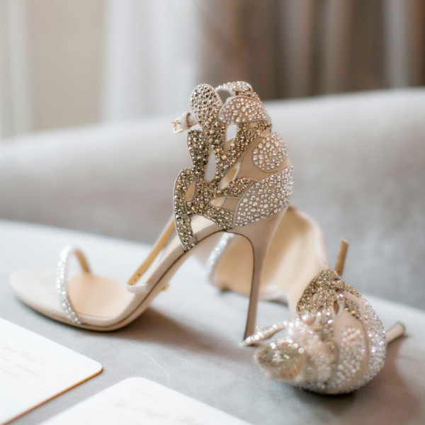 4d490496c1f6 Champagne Wedding Shoes Rhinestone Stiletto Heels Bridal Sandals image 1 ...