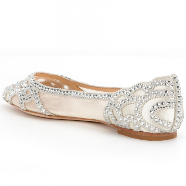 Champagne Flat Wedding Shoes Pointy Toe Rhinestone Hotfix Bridal Shoes image 5