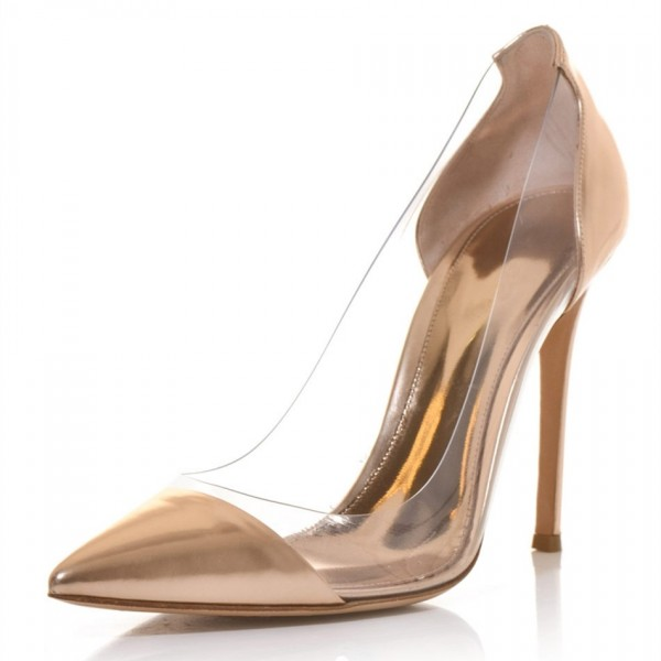 Women's Champagne Dress Shoes  Pointy Toe Stiletto Clear Heels Pumps  image 1