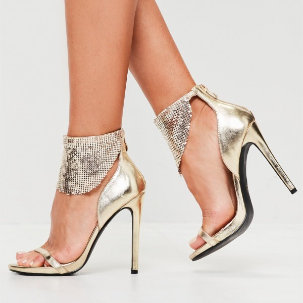 Champagne Evening Shoes Stiletto Heels Ankle Strap Sandals for Party ...