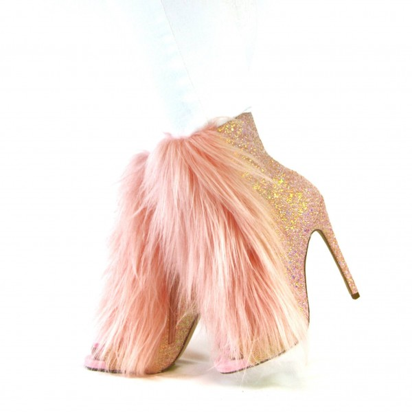Gold Glitter Fur Boots Stiletto Heel Fashion Peep Toe Ankle Booties image 1