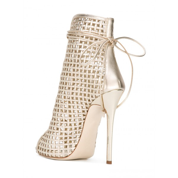 Golden Lace up Heels Peep Toe Cage Sandals Stiletto Heels image 4