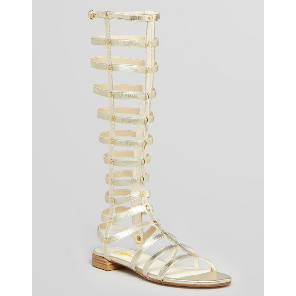 Silver Gladiator Sandals Knee-High Comfortable Flats for Women image 4