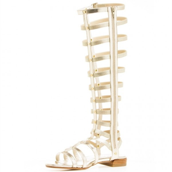 Silver Gladiator Sandals Knee-High Comfortable Flats for Women image 1