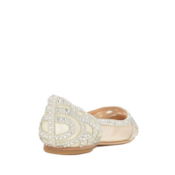 Champagne Wedding Shoes Pointy Toe Rhinestone Flats Image 3
