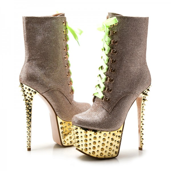 Gold and Champagne Rivets Stripper Shoes Platform Lace up Boots image 5