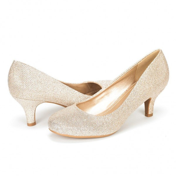 Champagne Low-Cut Uppers Low Heel Wedding Shoes image 1
