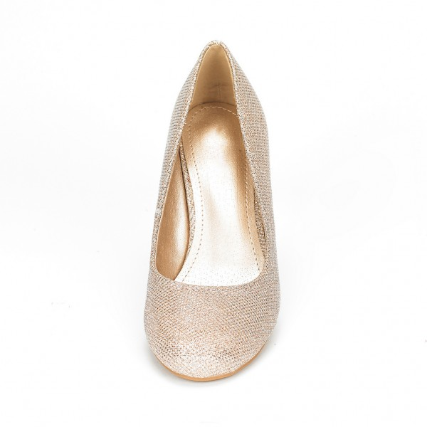 Champagne Low-Cut Uppers Low Heel Wedding Shoes image 4