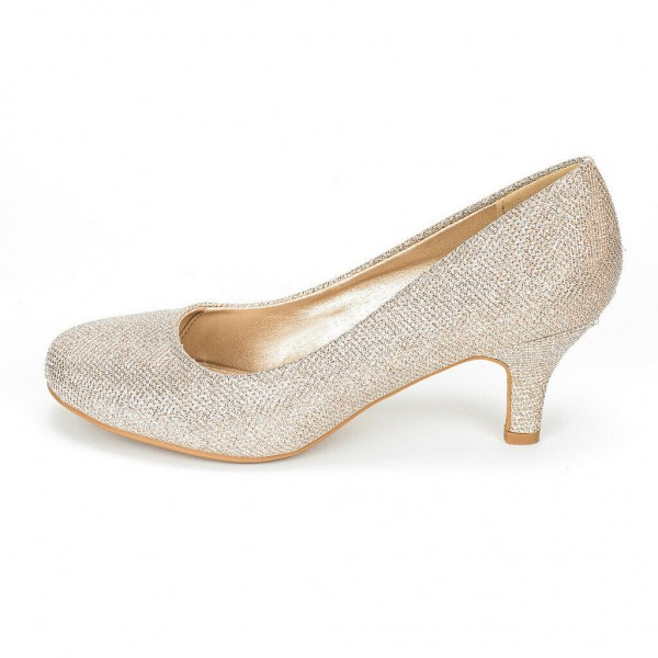Champagne Low-Cut Uppers Low Heel Wedding Shoes image 2