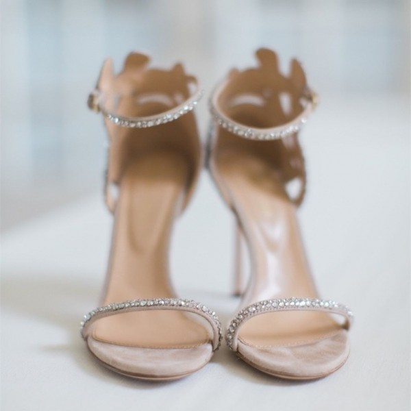 Champagne Wedding Shoes Rhinestone Stiletto Heels Bridal Sandals image 3