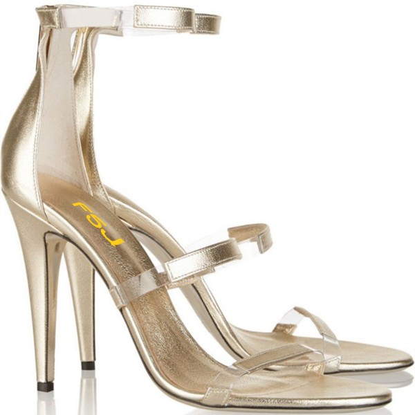 Women's Champagne Tri-Straps Clear Stiletto Heels Sandals image 4