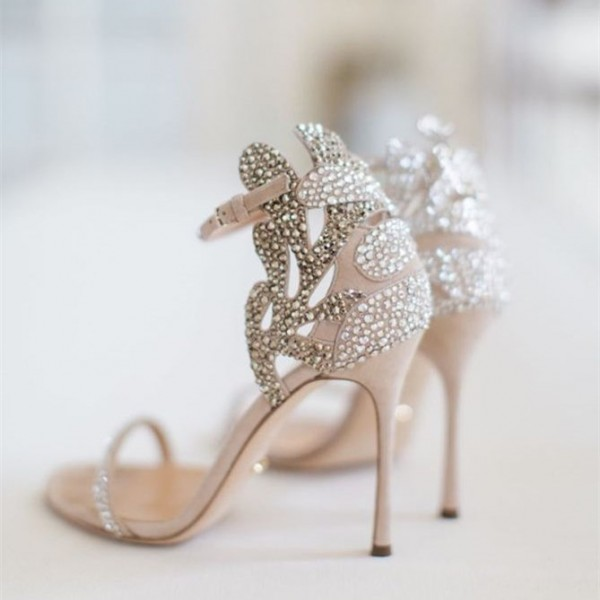 e8c805aa24a ... Champagne Wedding Shoes Rhinestone Stiletto Heels Bridal Sandals image  2 ...