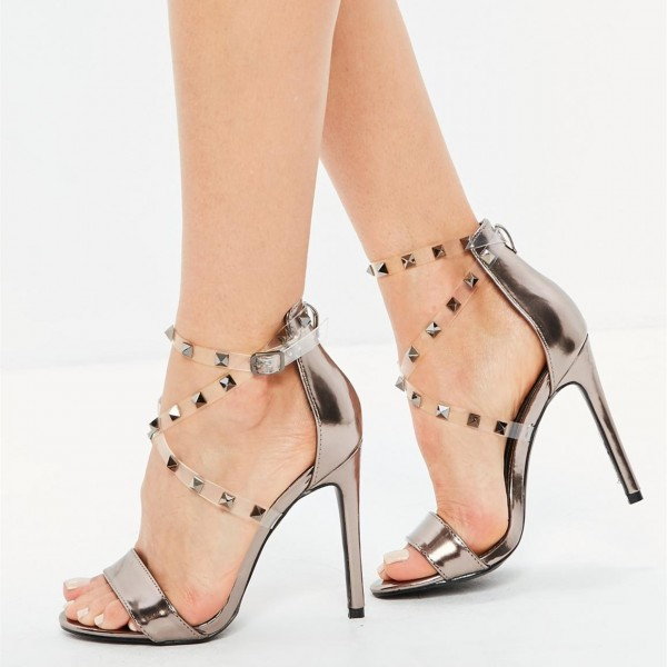 d999b6b0410 Champagne Open Toe Clear Heels Ankle Strap Sandals with Rivets image 1 ...
