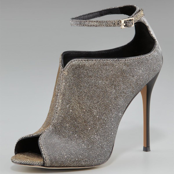 Champagne Peep Toe Booties Ankle Strap Cut out Stilettto Heel Boots image 1