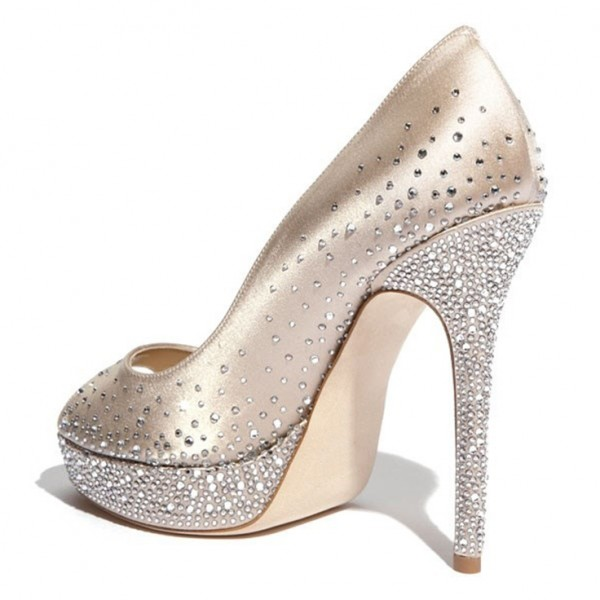 Beige Rhinestone Platform Heels Wedding Shoes Peep Toe Stiletto Heels image 3