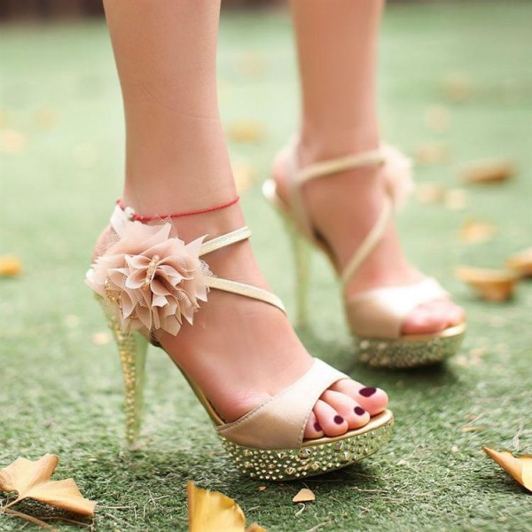 Champagne Rhinestone Floral Stiletto Heels Platform Sandals for Ball image 2