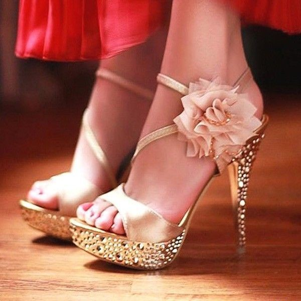 Champagne Rhinestone Floral Stiletto Heels Platform Sandals for Ball image 4