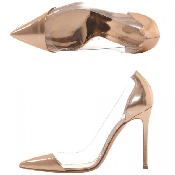 Women's Champagne PVC Clear Pumps Pointy Toe Stiletto Heel Pumps  image 3