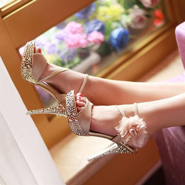 Champagne Rhinestone Floral Stiletto Heels Platform Sandals for Ball image 1