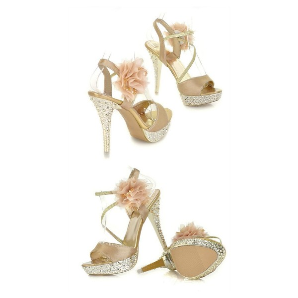 Champagne Rhinestone Floral Stiletto Heels Platform Sandals for Ball image 3