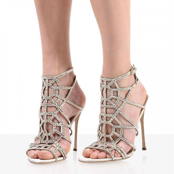 e634cf917f17 Champagne Dress Sandals Laser Cut Rhinestone Hotfix Cage Sandals image 1 ...