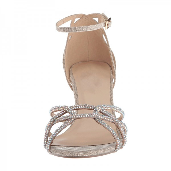 Champagne Rhinestones Stiletto Heel Ankle Strap Sandals for Wedding image 4