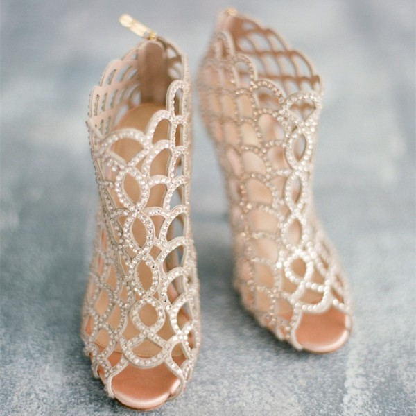 Champagne Rhinestone Bridal Heels Cage Sandals for Wedding image 1