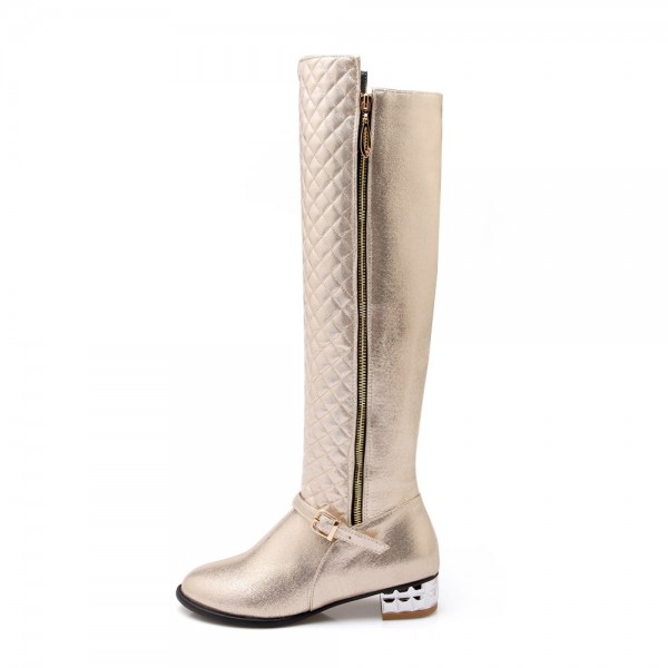 Champagne Round Toe Flats Long Boots Quilted Zipper Knee High Boots image 2