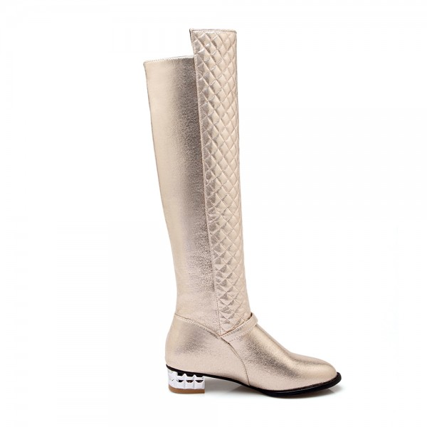 Champagne Round Toe Flats Long Boots Quilted Zipper Knee High Boots image 3