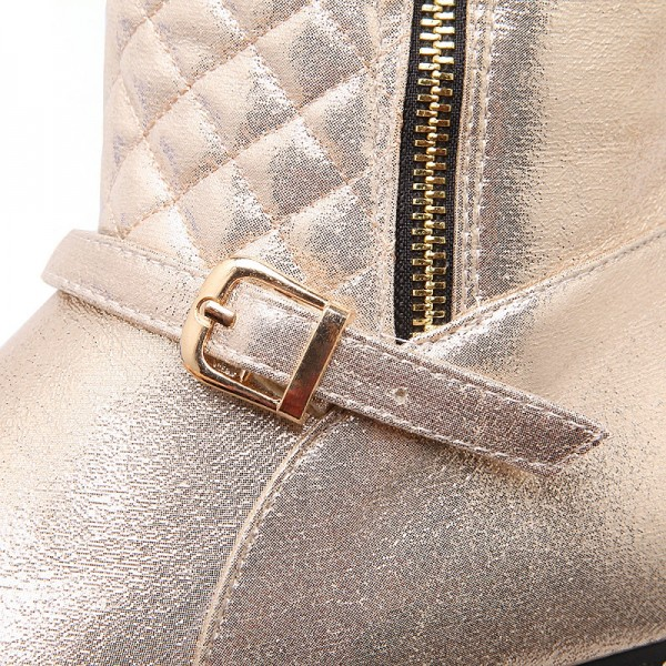 Champagne Round Toe Flats Long Boots Quilted Zipper Knee High Boots image 5