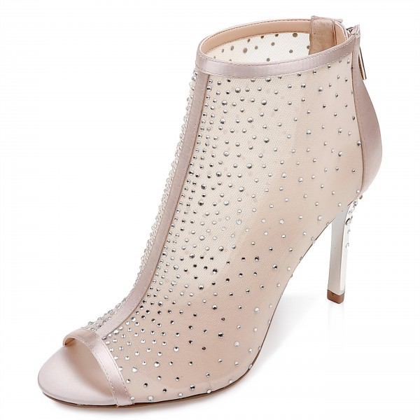 976e213d28 Blush Wedding Shoes Peep Toe Rhinestone Mesh Booties