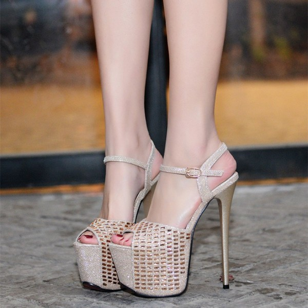 Champagne Sexy Shoes Peep Toe Sparkly Stiletto Heel Platform Sandals image 2
