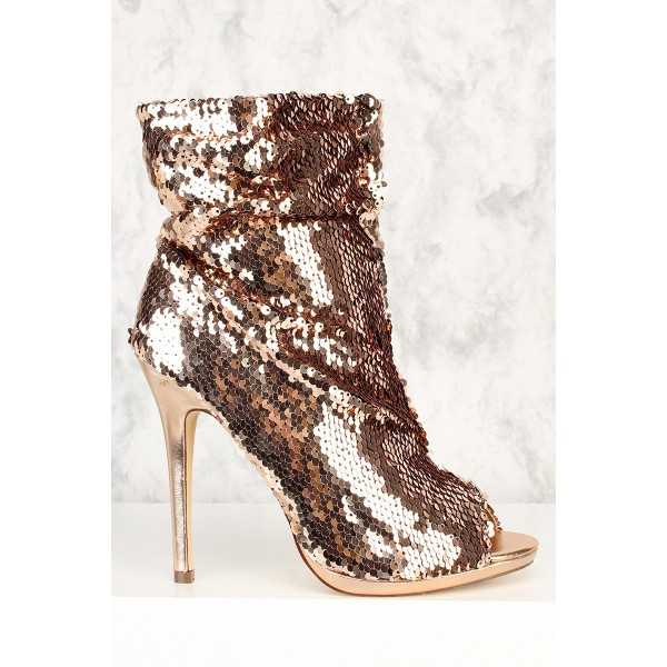 Dark Champagne Peep Toe Booties Sequined Stiletto Heel Slouch Boots image 3