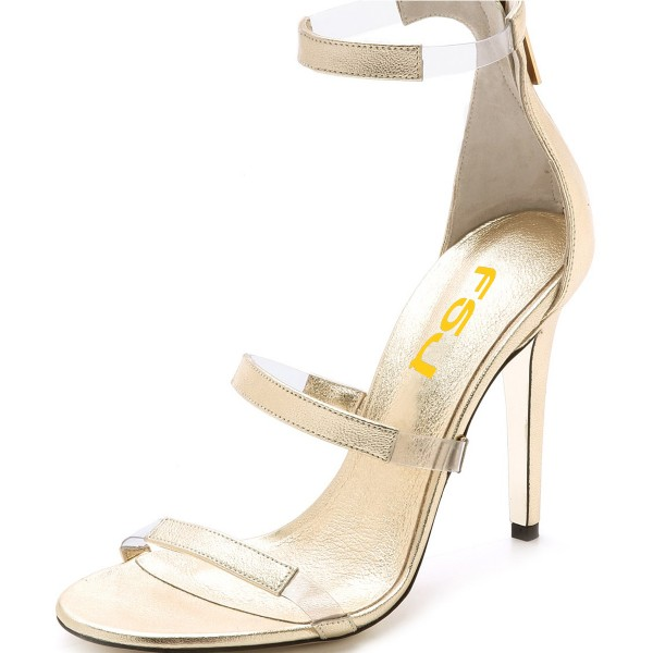 Women's Champagne Tri-Straps Clear Stiletto Heels Sandals image 6