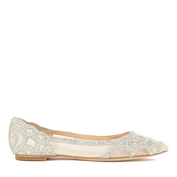 Champagne Wedding Shoes Pointy Toe Rhinestone Flats Image 4