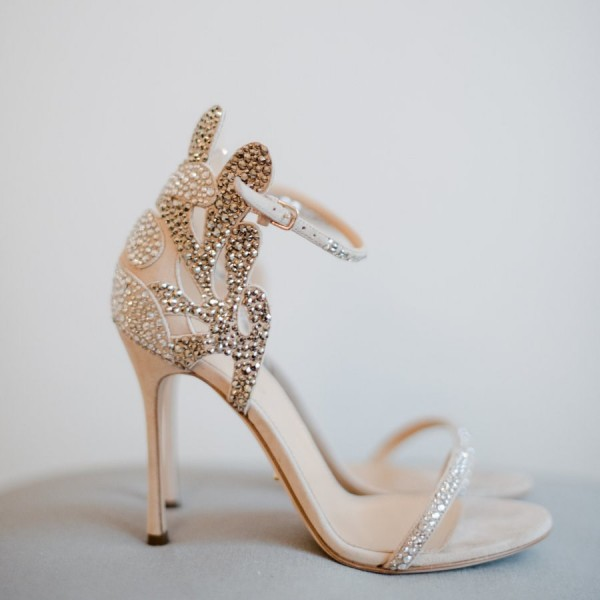 Champagne Wedding Shoes Rhinestone Stiletto Heels Bridal Sandals image 4
